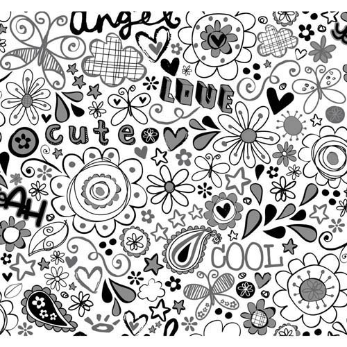 York Wallcoverings Room To Grow White and Black Doodlerific Wallpaper : Sample Swatch Only