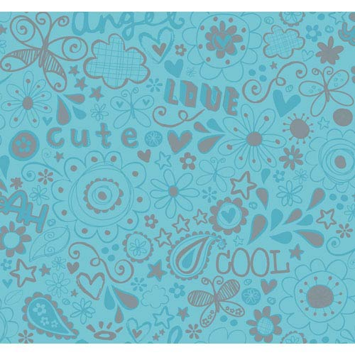 Room To Grow Turquoise and Silver Doodlerific Wallpaper