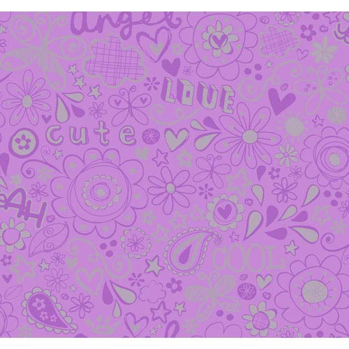 York Wallcoverings Room To Grow Purple and Silver Doodlerific Wallpaper : Sample Swatch Only