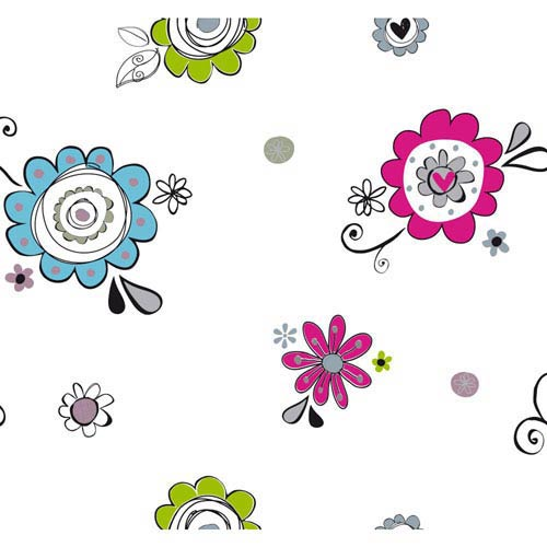 York Wallcoverings Room To Grow White Doodlerific Floral Wallpaper