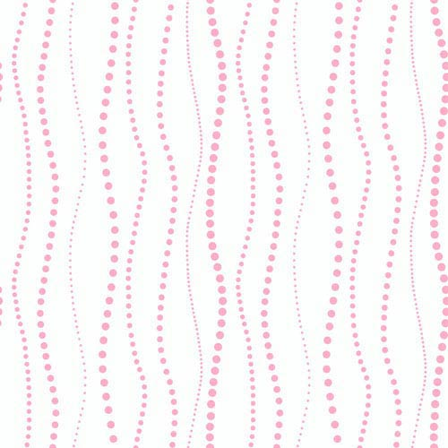 York Wallcoverings Room To Grow White and Light Pink Dotty Stripe Wallpaper