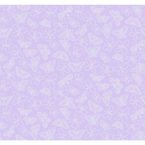Room To Grow Purple and Silver Glitter Butterfly Wallpaper
