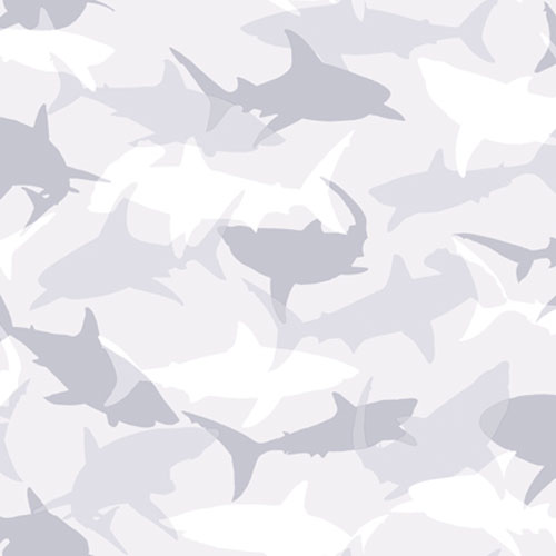 York Wallcoverings Brothers and Sisters Four Silhouettes of Sharks Designed In Camouflage Wallpaper : Sample Swatch Only