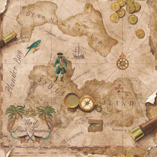 Brothers and Sisters Four Antique Faux Leather Pirate Map  : Sample Swatch Only