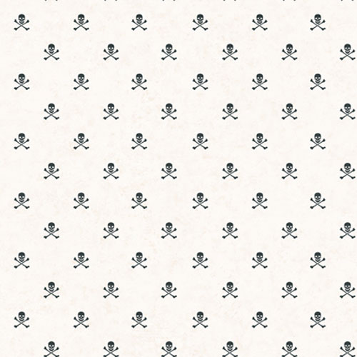 Brothers and Sisters Four Miniature Skull and Cross Bones Wallpaper : Sample Swatch Only