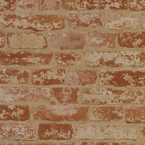 Welcome Home Brick Red, Pinkish White and Buff Stuccoed Wallpaper