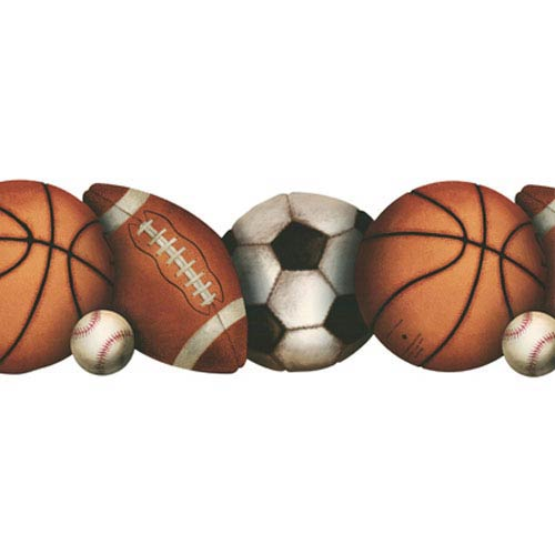 York Wallcoverings Brothers and Sisters Four Let's Play Ball Border with Footballs/Baseballs/Soccer and Basketballs