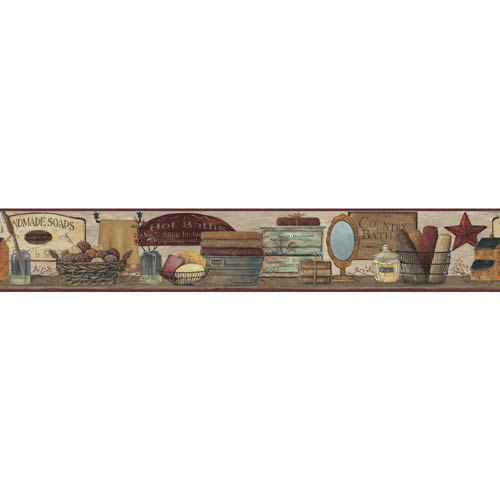 York Wallcoverings Inspired by Color Khaki Tan, Red Burgundy and Golden Wallpaper: Sample Swatch Only