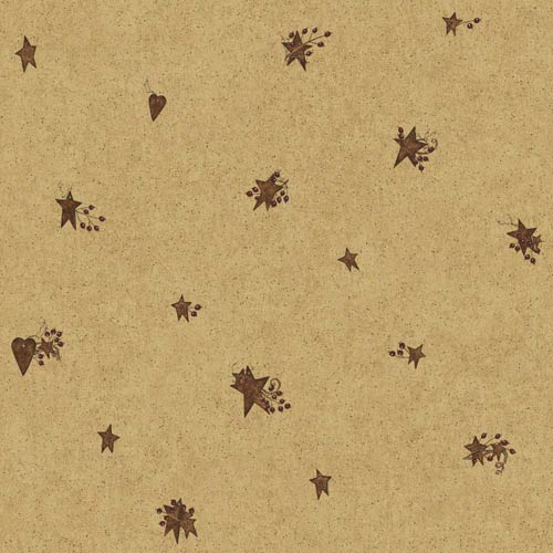 York Wallcoverings Welcome Home Beige, Manila Tan, Rusty Brown and Barn Red Tin Star Heart Wallpaper: Sample Swatch Only