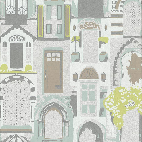 York Wallcoverings Culture Club Silver and Mint Green Wallpaper