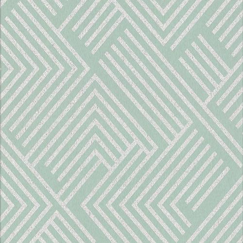 Culture Club Mint Green and Silver Geometric Wallpaper