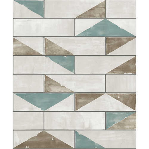 Culture Club Teal and Ochre Geometric Wallpaper - SAMPLE SWATCH ONLY