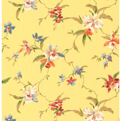 York Wallcoverings Inspired by Color Yellow Orchid Wallpaper: Sample Swatch Only