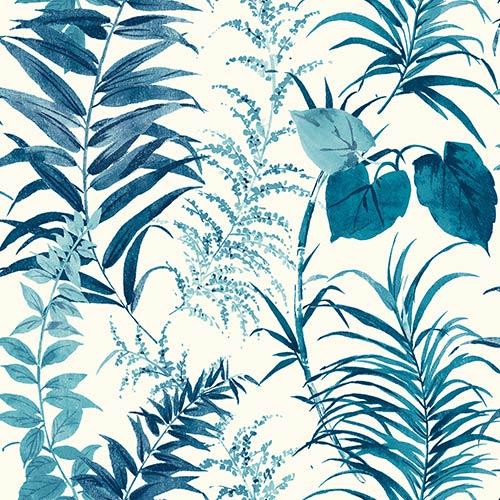York Wallcoverings Palms Blue Wallpaper