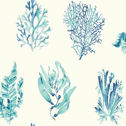 Seaweed White Wallpaper