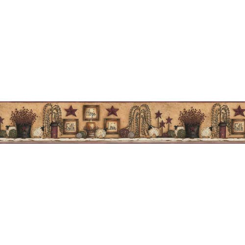 York Wallcoverings Welcome Home White, Beige, Tan, Barn Red, Olive Green, Black and Brown Border Faith Hope Love Shelf