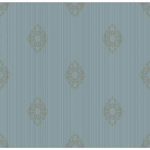 York Wallcoverings Candice Olson Embellished Surfaces Light Blue and Gold Brilliant Filigree Wallpaper: Sample Swatch Only