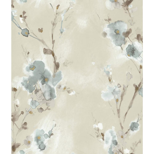 York Wallcoverings Candice Olson Breathless Charm Blue, Brown and Black Wallpaper