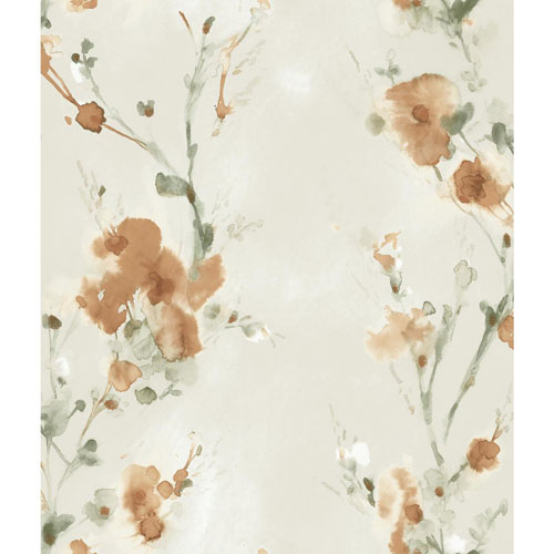 York Wallcoverings Candice Olson Breathless Charm Tan and Grey Wallpaper - SAMPLE SWATCH ONLY