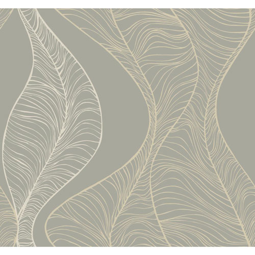York Wallcoverings Candice Olson Breathless Hoopla Grey, Off White and Metallic Wallpaper