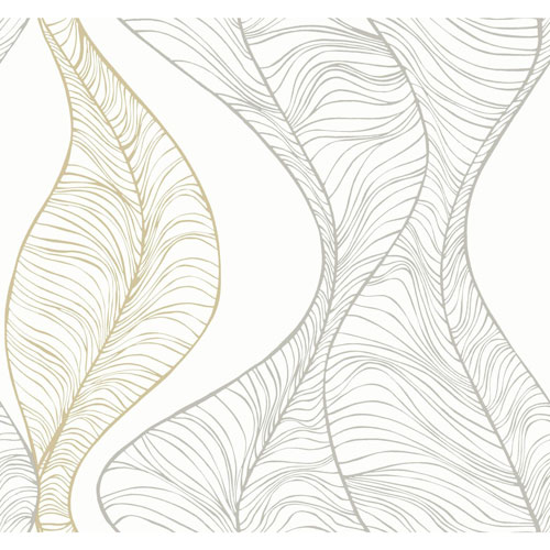 York Wallcoverings Candice Olson Breathless Hoopla Metallic and Off White Wallpaper - SAMPLE SWATCH ONLY