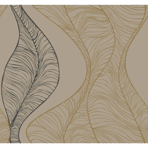 York Wallcoverings Candice Olson Breathless Hoopla Gold and Black Metallic Wallpaper - SAMPLE SWATCH ONLY