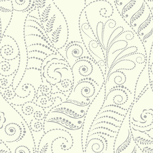Candice Olson Breathless Modern Fern Silver and White Metallics Wallpaper - SAMPLE SWATCH ONLY