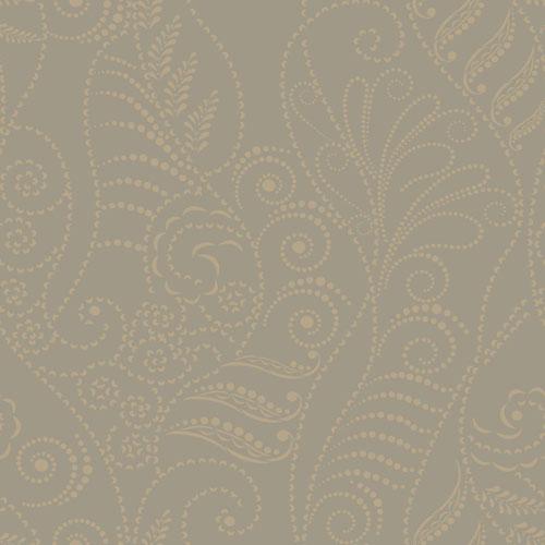 Candice Olson Breathless Modern Fern Antique Gold on Taupe, Black, Metallics Wallpaper