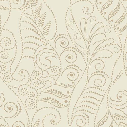 York Wallcoverings Candice Olson Breathless Modern Fern Antique Gold on Cream, Beige and Metallics Wallpaper - SAMPLE SWATCH