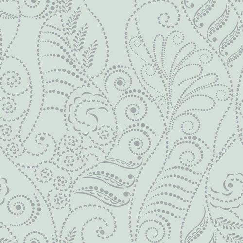 York Wallcoverings Candice Olson Breathless Modern Fern Silver on Blue Spa, Green and Metallics Wallpaper - SAMPLE SWATCH