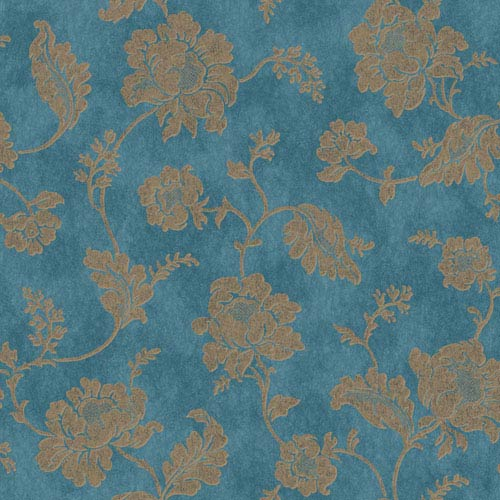 Jacobean Trail Bright Teal and Bronze Wallpaper