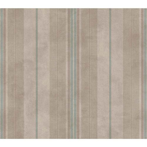 Aqua and Taupe Vertical Stripes Wallpaper