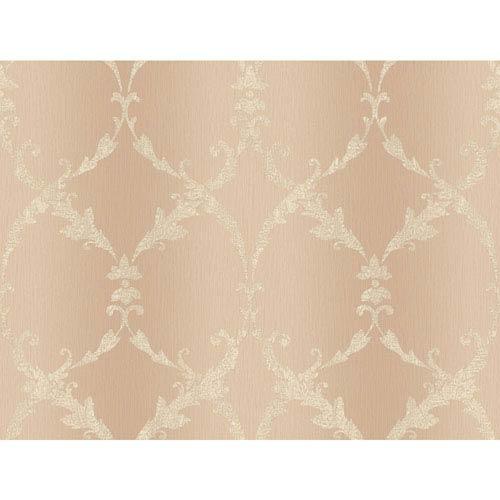 Peach and Cream Gated Scroll Wallpaper