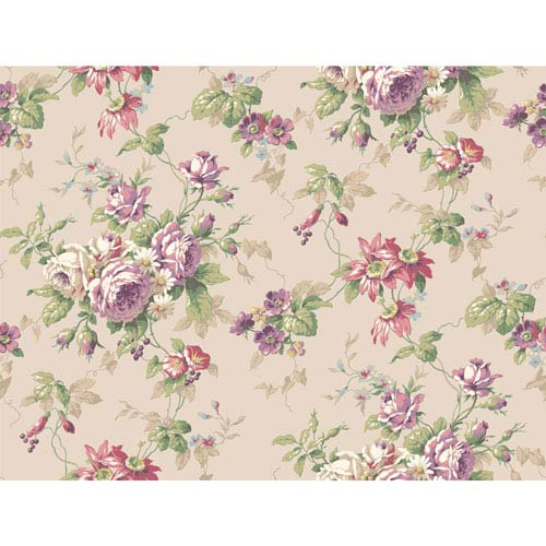 York Wallcoverings Callaway Cottage Pink and Purple Rose Floral Trail Wallpaper