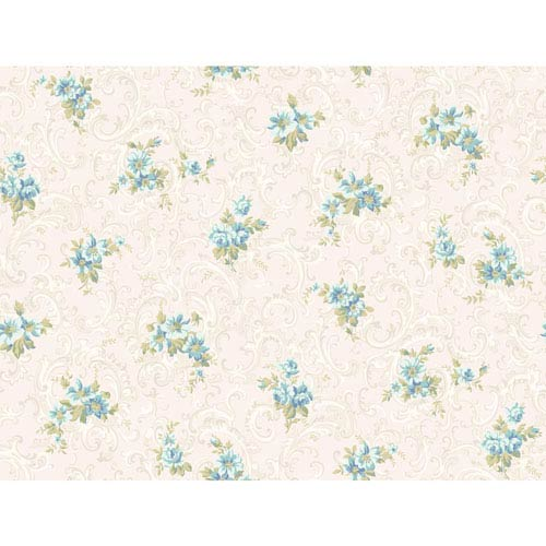 Callaway Cottage White and Aqua Full Floral Scroll Wallpaper