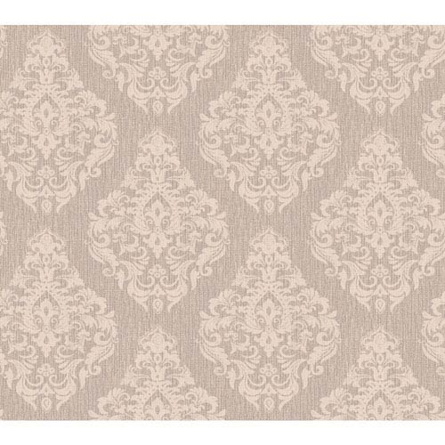 York Wallcoverings Callaway Cottage Cream and Taupe Damask Spot Texture Wallpaper: Sample Swatch Only