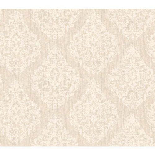 York Wallcoverings Callaway Cottage Off-White and Beige Damask Spot Texture Wallpaper