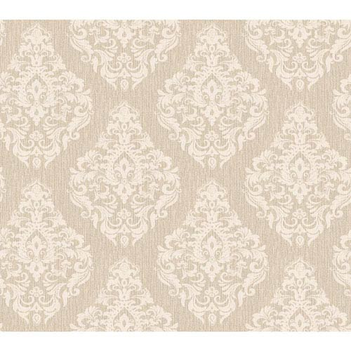 York Wallcoverings Callaway Cottage Off-White and Beige Damask Spot Texture Wallpaper: Sample Swatch Only
