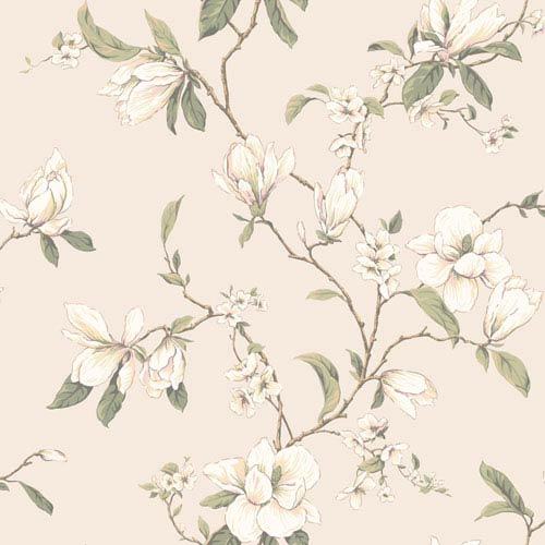 Callaway Cottage Pearlescent Cream Magnolia Branch Wallpaper: Sample Swatch Only