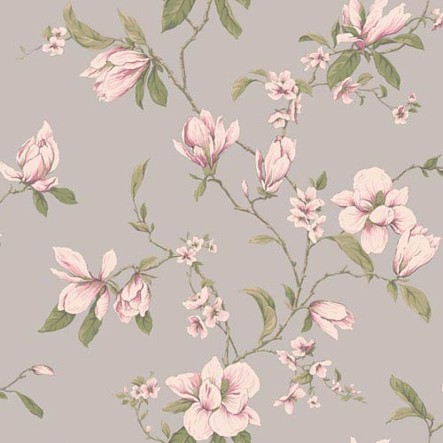 York Wallcoverings Callaway Cottage Silver Magnolia Branch Wallpaper