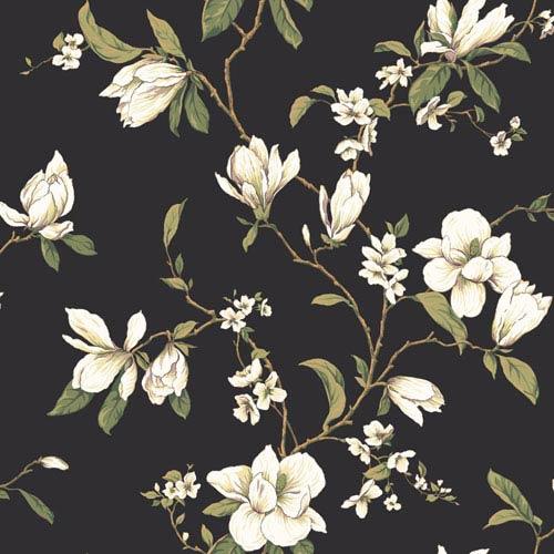 York Wallcoverings Callaway Cottage Black Magnolia Branch Wallpaper