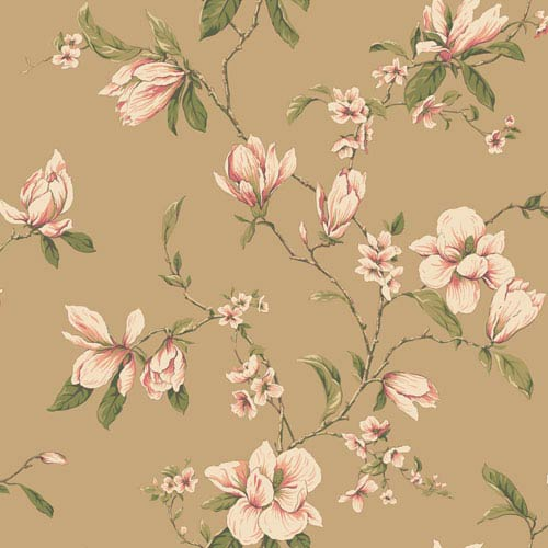 York Wallcoverings Callaway Cottage Gold Magnolia Branch Wallpaper