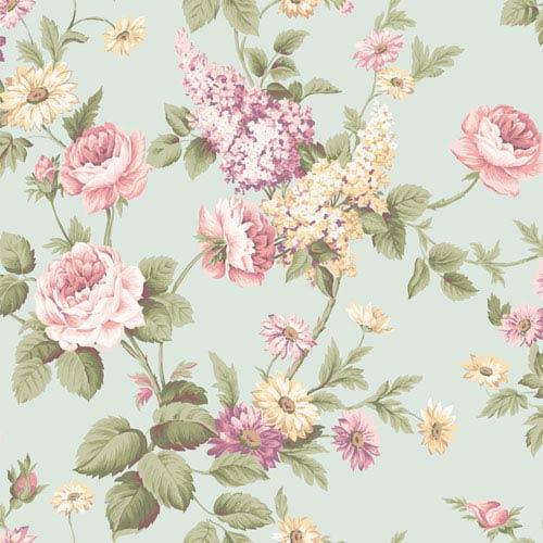 Callaway Cottage Aqua Monogram Rose Wallpaper: Sample Swatch Only