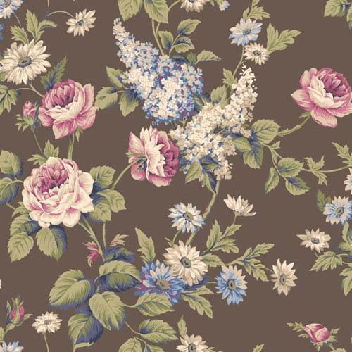 Callaway Cottage Dark Brown Monogram Rose Wallpaper