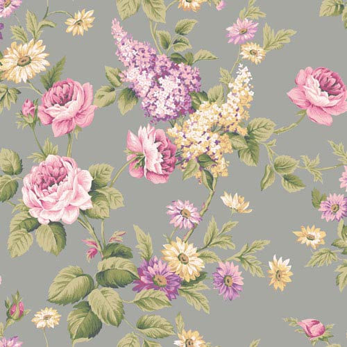 York Wallcoverings Callaway Cottage Silver Monogram Rose Wallpaper: Sample Swatch Only