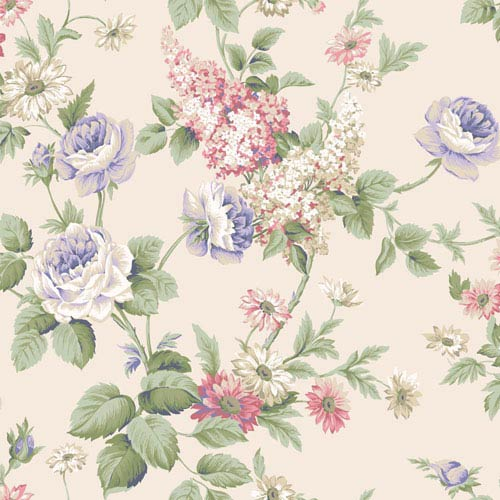 Callaway Cottage Cream Monogram Rose Wallpaper: Sample Swatch Only
