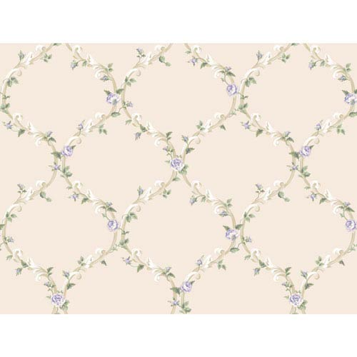 York Wallcoverings Callaway Cottage White and Purple Elegant Rose Trellis Wallpaper