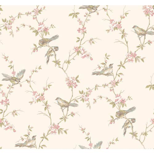 Callaway Cottage Cream and Pink Floral Branches with Birds Wallpaper: Sample Swatch Only