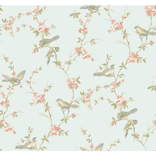 York Wallcoverings Callaway Cottage Aqua Floral Branches With Birds