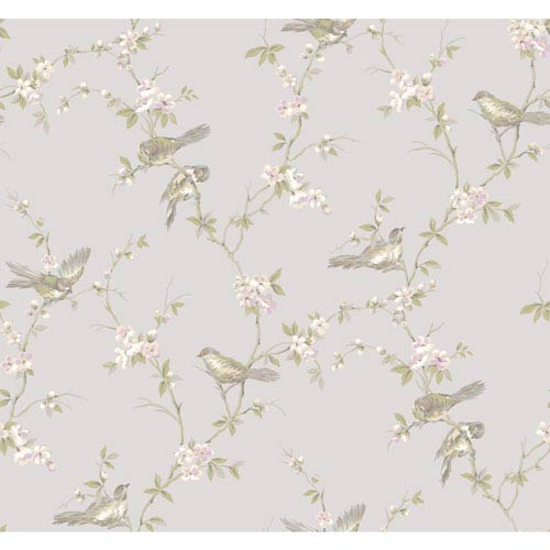 York Wallcoverings Callaway Cottage Silver Floral Branches with Birds Wallpaper: Sample Swatch Only